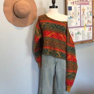Vintage Hand Cut Off The Shoulder Sweater